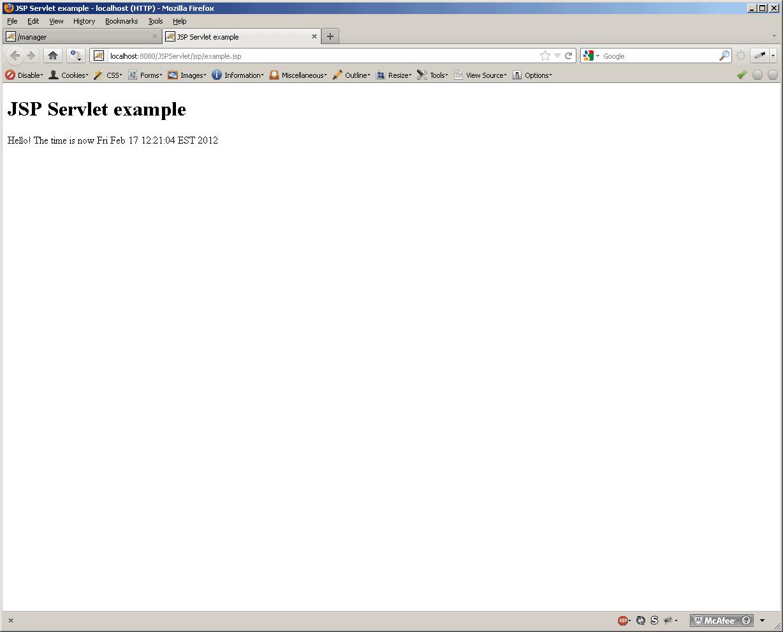Servlet example